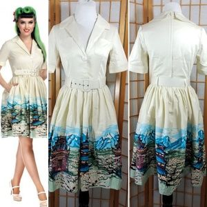 Collectif Janet Scenic Mountain shirt dress w/belt